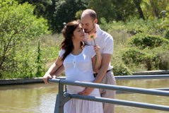 Happy beautiful pregnant woman and her husband Royalty Free Stock Images