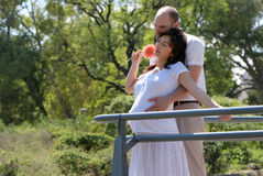 Happy beautiful pregnant woman and her husband Stock Images