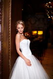 beautiful sexy bride  in white wedding dress Royalty Free Stock Photos