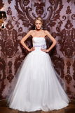 Beautiful bride  in white wedding dress Royalty Free Stock Image