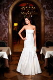 Beautiful sexy bride in white wedding dress Royalty Free Stock Photography