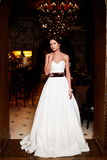 Beautiful bride in white wedding dress Stock Images