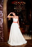 Beautiful bride in white wedding dress royalty free stock photography
