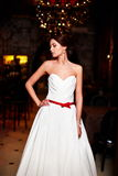 Beautiful sexy bride in white wedding dress Stock Photography
