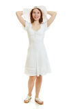 Happy beautiful sexy young woman in white dress Royalty Free Stock Photography