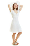 Happy beautiful sexy young woman in white dress Stock Photography