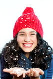 Happy and beautiful snow girl Royalty Free Stock Images