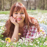 Happy Beautiful Spring Young Woman Stock Images