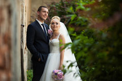 Happy beautiful stylish luxury gorgeous young couple on the back Stock Images