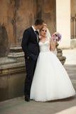 Happy beautiful stylish luxury gorgeous young couple on the back Royalty Free Stock Images