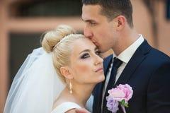 Happy beautiful stylish luxury gorgeous young couple on the back Royalty Free Stock Image