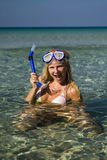 Happy beautiful summer diving woman Royalty Free Stock Photos