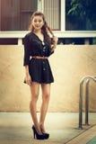 Happy beautiful thai female enjoying near swimming pool Stock Photography