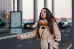 Happy beautiful traveler hitch-hiking on city road royalty free stock photography