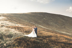 Happy beautiful wedding couple bride and groom at wedding day outdoors on the mountains rock. Happy marriage couple Royalty Free Stock Photos