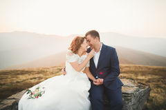 Happy beautiful wedding couple bride and groom at wedding day outdoors on the mountains rock. Happy marriage couple Royalty Free Stock Image