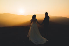 Happy beautiful wedding couple bride and groom at wedding day outdoors on the mountains rock. Happy marriage couple Royalty Free Stock Photography