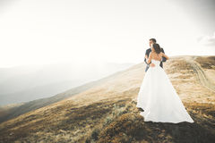 Happy beautiful wedding couple bride and groom at wedding day outdoors on the mountains rock. Happy marriage couple Stock Photos