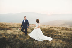 Happy beautiful wedding couple bride and groom at wedding day outdoors on the mountains rock. Happy marriage couple Royalty Free Stock Photo