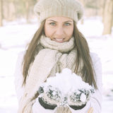 Happy Beautiful Winter Woman Royalty Free Stock Photography