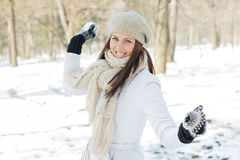 Happy Beautiful Winter Woman Royalty Free Stock Photos