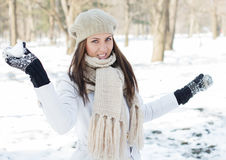 Happy Beautiful Winter Woman Stock Photos