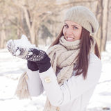 Happy Beautiful Winter Woman Royalty Free Stock Images