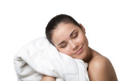 Happy beautiful woman after bath Stock Photography