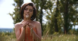 Happy beautiful woman blowing dandelion stock footage