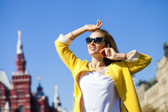 Happy beautiful woman calling by phone Royalty Free Stock Photo