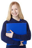 Happy beautiful woman carrying document folder Royalty Free Stock Photo