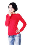 Happy beautiful woman in casual clothes Royalty Free Stock Images