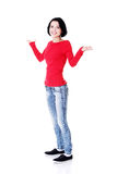 Happy beautiful woman in casual clothes Royalty Free Stock Photos