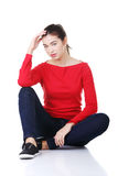 Happy beautiful woman in casual clothes Stock Photos