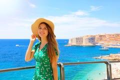Free Happy Beautiful Woman Enjoying Her Cruise In Mediterranean Sea. Smiling Traveler Girl Enjoying Her Summer Holidays In Dubrovnik, Stock Photo - 153370140