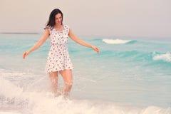 Happy Beautiful Woman Enjoying Summer Vacation Royalty Free Stock Images