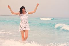 Happy Beautiful Woman Enjoying Summer Vacation Royalty Free Stock Images
