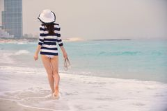 Happy Beautiful Woman Enjoying Summer Vacation Royalty Free Stock Photography