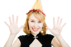 Happy beautiful woman in a festive hat Royalty Free Stock Photo
