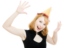 Happy beautiful woman in a festive hat Stock Image