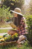 Happy beautiful woman gardening Stock Image