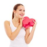 Happy beautiful woman with gift Stock Image