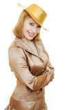 Happy beautiful woman in a gold suit Stock Photography