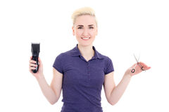 Happy beautiful woman hair stylist with hair trimmer and scissor Royalty Free Stock Photo