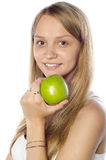Happy beautiful woman holding apple Royalty Free Stock Photo