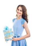 Happy beautiful woman holding gift box isolated on white backgro Royalty Free Stock Photos