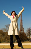 Happy beautiful woman in Paris Stock Photos