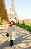Happy beautiful woman in Paris Stock Image