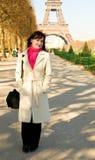 Happy beautiful woman in Paris Royalty Free Stock Image