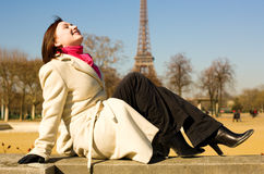 Happy beautiful woman in Paris Stock Images